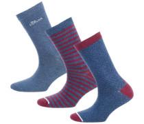 3 Paar Socken taubenblau / rot