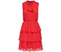 Rüschen-Kleid ohne Ärmel hellrot