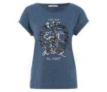 Printshirt mit Pailletten blau