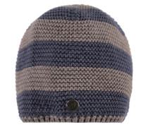 Mütze Strick beige / blau