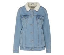 Jeansjacke mit Teddyfell-Kragen blau