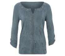 Crinkle-Shirt mit Passe blau