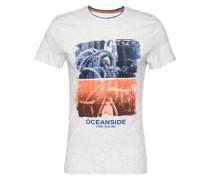 T-Shirt 'placement' blau / orange / offwhite