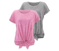 T-Shirts (2 Stück) graumeliert / pinkmeliert