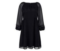Schwingendes Georgette-Kleid mit 3D-Blüten schwarz