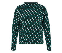 Jacquard-Pullover mit Würfelmuster dunkelgrün