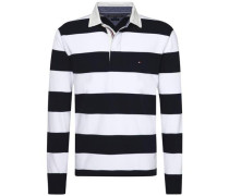 Poloshirt 'basic Block STP Rugby L/S VF' schwarz / weiß