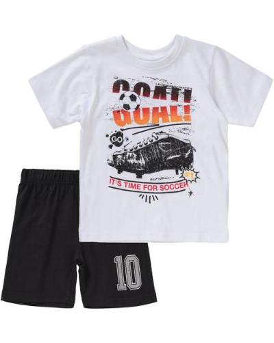 Set T-Shirt + Shorts für Jungen schwarz / weiß