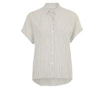 Gestreifte Bluse aus Viskose marine / weiß