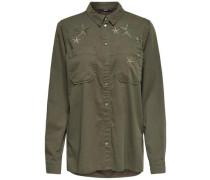 Bedrucktes Langarmhemd grün
