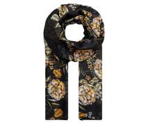 Halstuch mit Blumendruck creme / goldgelb / schwarz