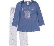 Schlafanzug für Mädchen Eule blau / hellgrau / dunkelgrau