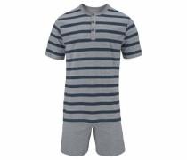 Pyjama kurz Shorty mit Blockstreifen und Knopfleiste