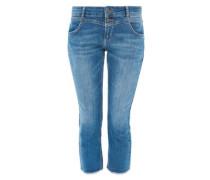 Kick Flare: Ausgefranste Stretch-Jeans blue denim