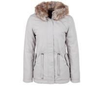 Warme Jacke mit Fake Fur-Kapuze beige / braun