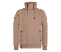 Male Zipped Jacket 'Du Affenmensch IV' braun