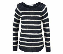 Strick-Pullover 'Tappy' dunkelblau / perlweiß