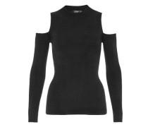 Cold-Shoulder-Pullover mit Lurex schwarz