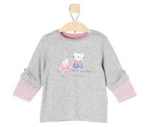 Layer-Shirt mit Katze und Maus hellblau / graumeliert / rosé