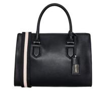 Handtasche mit Streifen-Gurt creme / schwarz