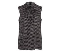 Ärmellose Bluse mit Muster schwarz
