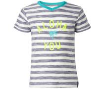 T-shirt 'Fairfield' türkis / taubenblau / neongelb / weiß