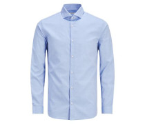Langarmhemd Mircoprint- blau