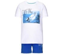 kurzärmeliges Shorts-Set 'Nitzack' blau / weiß