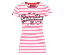 Streifenshirt mit Logoprint pink / weiß