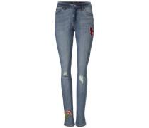 Boyfriend-Jeans im Used-Look blue denim