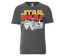 "T-Shirt ""Star Wars Millenium Falcon"" grau"