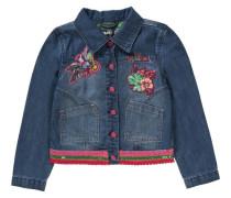 Jeansjacke mit Patches für Mädchen blau