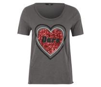 T-Shirt mit Pailetten dunkelgrau