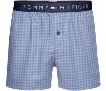 Unterwäsche 'woven Boxer Mini Check' hellblau