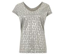 T-Shirt mit metallischem Print grau / silber