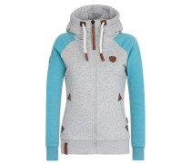 Zipped Jacket 'Mach klar jetzt II' türkis / graumeliert
