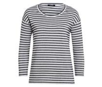 Lurex-Streifenshirt schwarz / weiß