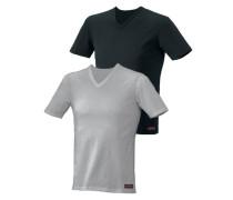 Kurzarmshirt (2 Stck.) grau / schwarz