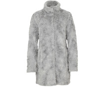 Warmer Fake Fur-Mantel hellgrau