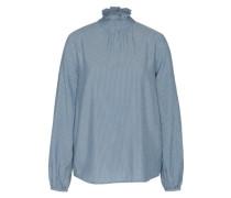 Bluse mit Stehkragen blau