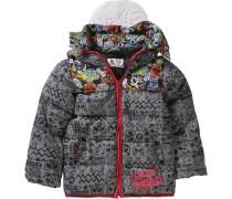 Winterjacke mit Maskenkapuze für Jungen gelb / grau / rot / schwarz