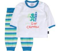 Baby Schlafanzug blau / türkis / weiß