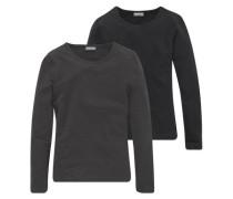 Langarmshirt mit Rundhalsausschnitt (Packung 2 Stück) für Mädchen schwarz