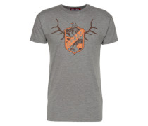 T-Shirt 'Deer' grau / orange
