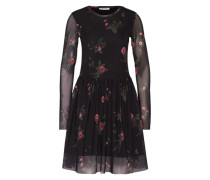 Kleid mit Blumenmuster 'Pcfawn' schwarz