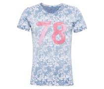 T-Shirt 'MT Palm v-neck' hellblau / pink / weiß
