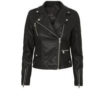 Jacke aus Lederimitat schwarz
