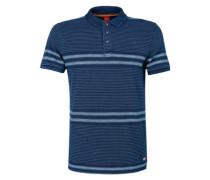 Gemustertes Poloshirt mit Wascheffekt blau