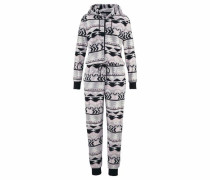 Jumpsuit aus kuscheligem Fleece hellgrau / rosa / schwarz