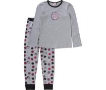 Schlafanzug 'friends' für Mädchen graumeliert / pink / rosa / schwarz